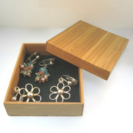 Two Pairs Sterling Clip On Earrings Flower Cutout Multistone Cluster Bamboo Box