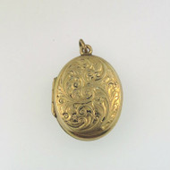 Vintage Yellow Gold Filled Oval Detailed Front Locket Pendant Empty Signed JMF
