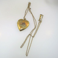 Vtg 12k Gld Filled Heart Locket Necklace Colored Etched Farmhouse Scene Unsigned