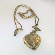 Vintage Gold Filled Etched Front Design Heart Locket Necklace Empty Unsigned