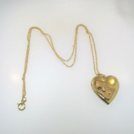 Vtg 14k Gold Filled Raised Mother & Child Heart Locket Necklace Empty Signed R