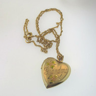 Vintage 14k Gold Filled Grandma Heart Locket Necklace w Photos Inside Signed R