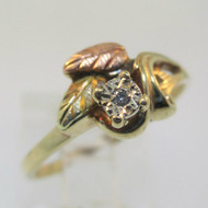 10K Black Hills Gold Coleman Company Diamond Ring Size 7.25