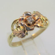 10K Black Hills Gold Diamond Coleman Company Rose Flower Ring Size 8