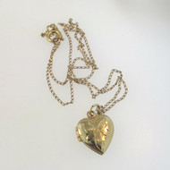 Vtg Tiny 14k Ylw Gold Filled Marathon Childs Heart Locket Necklace Etched Flower