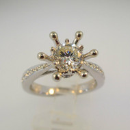 18k White Gold .93ct Round Brilliant Cut Diamond Crown Mount Ring Size 6 1/2