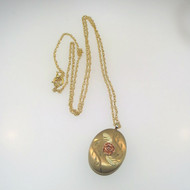 Vtg CCO Coleman 14k Gld Fill & Blk Hills Gld Rose Leaves Locket on 14k YGF Chain