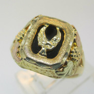10K Yellow Gold 12K Black Hills Gold Bird Black Onyx Ring Size 9