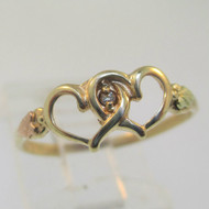 10K Yellow Gold Black Hills Coleman Co Diamond Hearts Ring Size 7