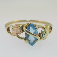 10K Yellow Gold 12K Black Hills Gold Blue Topaz Ring Size 8