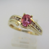 14k Yellow Gold Pink Sapphire Ring with Diamond Accents Size 7