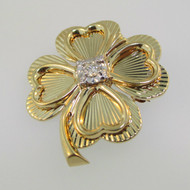 14k Yellow Gold Four Leaf Clover Shamrock with Approx 0.11ct Diamond Accent Pin Brooch Pendant