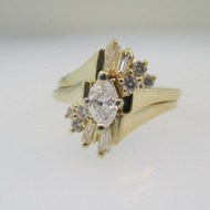 14k Yellow Gold Approx .50ct TW Marquise Cut Diamond Ring and Wedding Band Size 5 1/2
