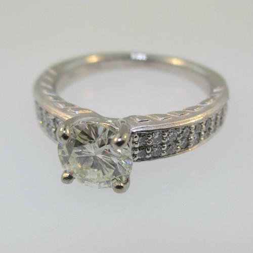 18k White Gold Ritani .97ct Round Brilliant Cut Diamond Ring Size 6 1/2