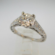 Ritani 18k White Gold 1.12ct Round Brilliant Cut Diamond Engagement Ring Size 6 1/2