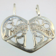 Sterling Silver Signed Cutout Design Double Loop Mother Daughter Heart Pendant