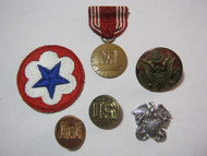U.S. Military WWII Era Good Conduct Medal Eagle Pin  Collar Lot