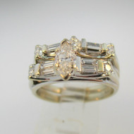 Vintage 18k White Gold Approx .42ct Marquise Cut Diamond Ring with Wedding Band Size 7 1/4