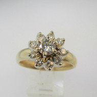 14k Yellow Gold Artcarved Approx .50ct Round Brilliant Cut Diamond Ring with Diamond Halo Accents Size 10