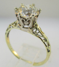Vintage 1920's. 14k Yellow Gold Approx. 1.55ct European Cut Diamond Solitaire Mount Ring. Delicate Filigree accents on band. Size 7 ½
