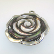 Sterling Silver China SX Mother of Pearl Detailed Rose Flower Blossom Pendant