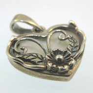 Vtg Sterling Mother of Pearl Heart Pendant w Floral Overlay Design Marked THA CW