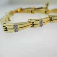 """18k Yellow Gold Bracelet with Diamond Accents 6 3/4"""" Length"""