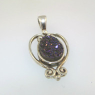 Vintage Sterling Silver Sajen Oval Purple Amethyst Druzy Stone Pendant Signed IN