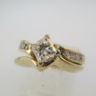 4k Yellow Gold Approx .50ct Princess Cut Diamond Ring with Wedding Band Size 5
