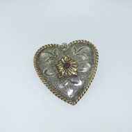 Vtg Vogt Mexico Sterling & 14k Gold Filled Heart Pendant w Synthetic Ruby Accent