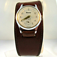 Vintage Lucerne De Luxe 1 Jewel Silver Tone Metal Watch with Leather Band Parts Steampunk (3006364CB)