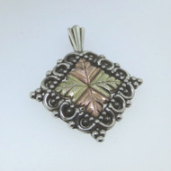 Vintage Coleman CCO Sterling & 12k Black Hills Gold Leaves Detailed Pendant