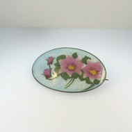 Vintage Old European Silver Enamel Brooch Pin Handpainted Pink Flowers Unsigned