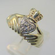 10K Yellow Gold Irish Celtic Claddagh Diamond Ring Size 8.5