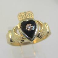 14K Yellow Gold Irish Celtic Claddagh Diamond Black Onyx Ring Size 6.5
