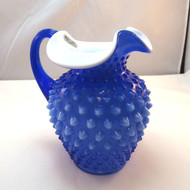 Fenton Cobalt Blue Overlay Milk Glass Hobnail Pitcher Circa 2001