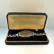 Vintage Sorority 6 Jewels 14k White Rolled Gold Plated Watch Parts Steampunk with Original Box (3006363CB)
