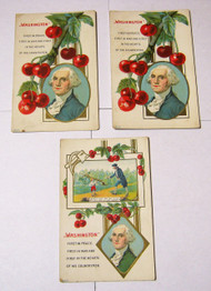 Antique George Washington Embossed w/ Cherries Postcards