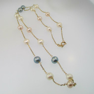 14k Yellow Gold White Pink and Black Pearl Necklace