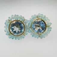 14k Yellow Gold Blue Topaz Stud Earrings with Bead Accents
