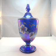 Fenton Artist Signed Handpainted Cobalt Blue Carnival Glass Candy Box Jar w Lid