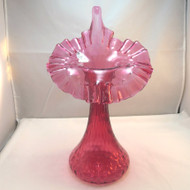 Fenton Fine Dot Optic Tall Red Cranberry Glass Jack in the Pulpit Tulip Vase