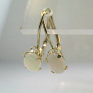 10k Yellow Gold Oval Cut Natural Opal Dangle Earrings