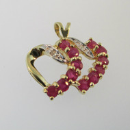 10k Yellow Gold Double Heart with Ruby and Diamond Accent Pendant