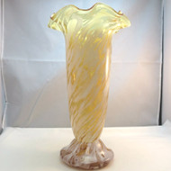 Vintage Tall Honey Yellow Amber Cased Art Glass White Streaks Smears Unsigned