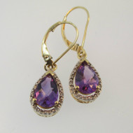 10k Yellow Gold Purple Amethyst Pear Shaped Diamond Halo Dangle Earrings