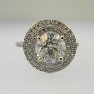14k White Gold 1.45ct Round Brilliant Cut Diamond Ring with Double Halo Diamond Accents Size 6 3/4