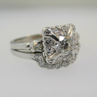 Vintage Orange Blossom OBJ Platinum Approx .38ct  Round Brilliant Cut Diamond Ring Size 6 3/4