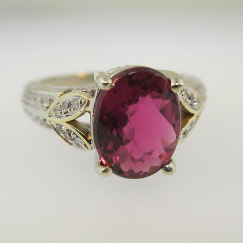 14k White Gold Pink Tourmaline Ring With Diamond Accents