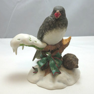 Lenox Limited Edition Fine Porcelain Bird 2000 Christmas Snowbird with Red Berry